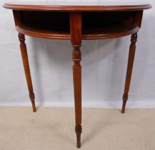 Yew Bowfront Console Side Table